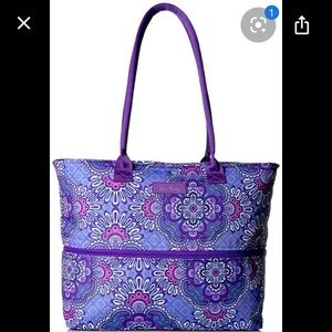 New expandable travel tote lilac tapestry floral
